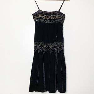 Fresh Twist Black Velvet Beaded Spaghetti Straps
